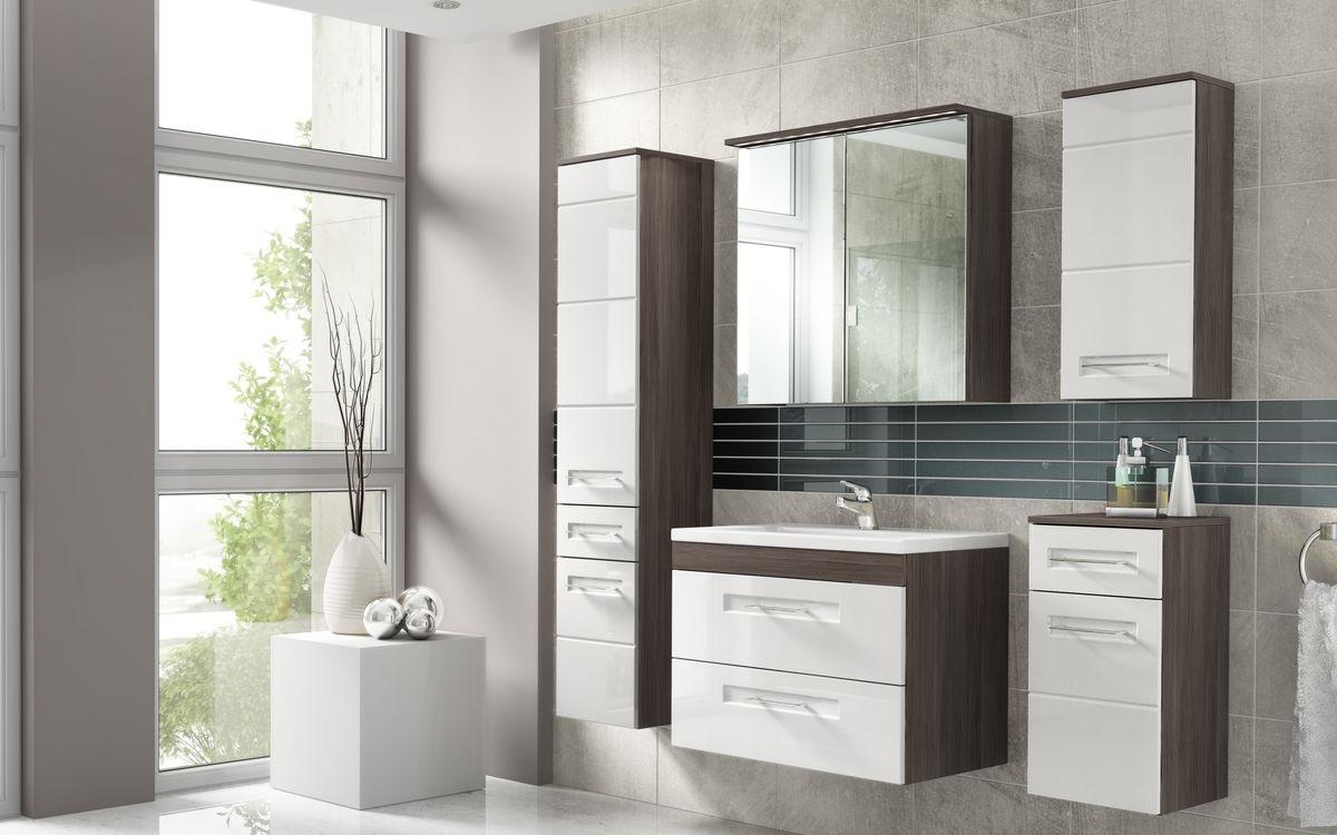 Barna és fehér fürdőszoba bútor